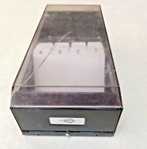 Rogers Rolodex Style Business Card File Box Smoke Tint Black Steel As Is