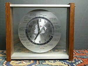 Mcm Verichron Wood Glass World Time Desk Wall Clock Working Excellent