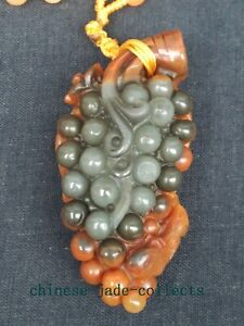 100 Natural Hand Carved China Jade Pendant Jade Necklace Lovely Grape Squirrel