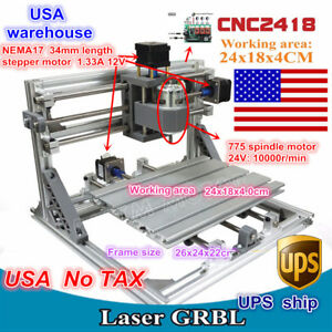 usa 3 Axis Diy Mini 2418 Grbl Control Cnc Router Milling Engraver Laser Machine
