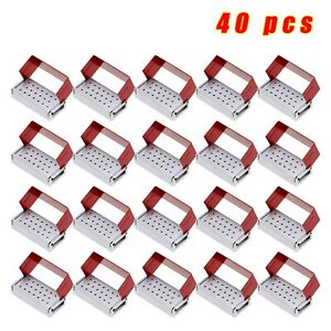 40 dental Bur Burs Holder Block Aluminium Disinfection Box Autoclave 20 Hole Red