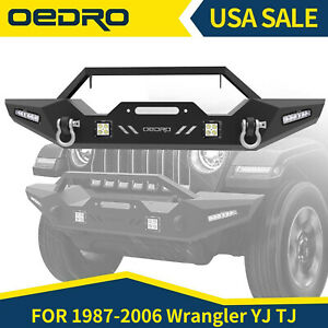 Oedro For 87 06 Jeep Wrangler Yj Tj Front Bumper Winch Plate Built Led Lights