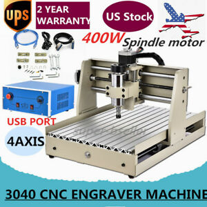 Usb Cnc Router Engraver Engraving Cutting 4 Axis 3040t Desktop Milling Cutter