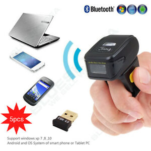 5pcs Ring Finger 1d 2d Qr Mini Bluetooth Barcode Scanner Reader For Android