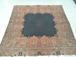 Antique French Paisley Kashmir Piano Shawl Woolen Square Size 72 X72