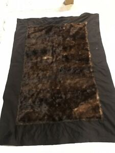 Antique Carriage Blanket W Silky Soft Fur Side Buggy Sleigh Lap Robe Old Vguc