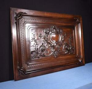 Large 58 French Antique Deep Carved Panel Solid Walnut Wood Salvage