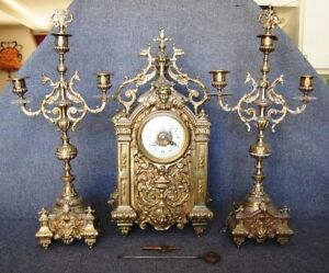 Antique French Japy Freres Gilt Bronze Mantle Clock Set Xl Candelabra Victorian