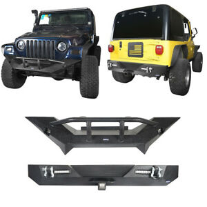 Texture Front Rear Bumpers W Winch Plate Led Light For 97 06 Jeep Tj Wrangler