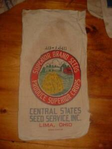 Vintage 1950 Canvas Superior Brand Seed Lima Ohio Feed Sack W Tag