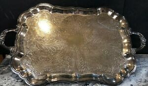 Fb Rogers Etched Peacock Feather Silver Plate 27 3 4 Serving Tray Footed Ornate