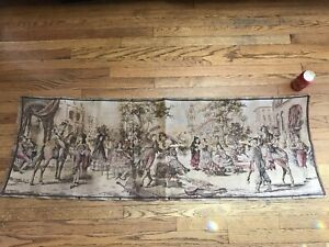 Antique Tapestry Aubusson Style 57 X 19 French Women Dancing Town Scene