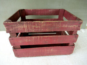Antique Crate Shipping Box Vintage Primitive Wood Old Red Paint Clean