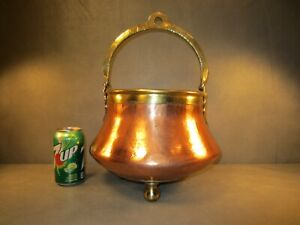 Enormous Vintage Antique Copper Kettle Pot Planter Cauldron Decor Brass Handle