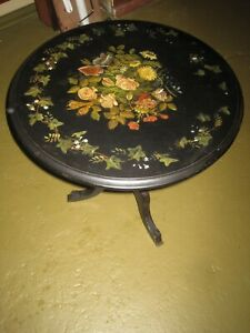 Antique Table Marble Slate Top Hand Painted