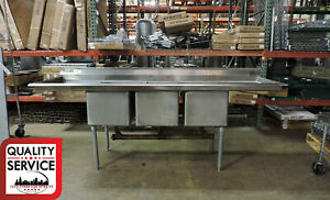 Commercial Stainless Steel 3 compartment Sink W 2 Drainboards 91 X 27