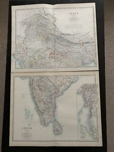1893 India On Two Sheets Large Antique Map By Johnston 126 Years Old