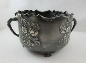 Pairpoint Quadruple Plate Footed Handled Bowl Plant Holder Or Display Piece