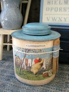 Antique Pantry Tin Robins Egg Blue Paint Chicken Laundry Day W Clothespin