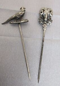 2 Rare French Antique 800 Silver Sgn H France C Animal Meat Skewers Ram Pheasant