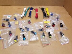 Lot 31 Pc Mixed Colors 12 V Momentary Off on Square Push Button Switch Nos