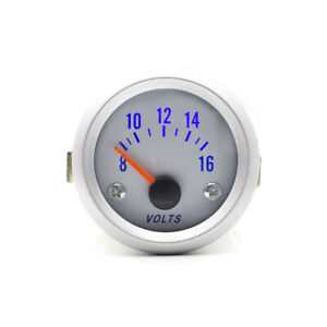 2 Inch 52mm Car Voltmeter Led 8 16v Voltage Gauge Auto Volt Meter White Face