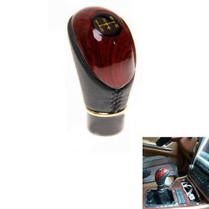 5 Speed Wood Color Gear Shift Lever Knob Head Cover Trim Decor For Universal Car