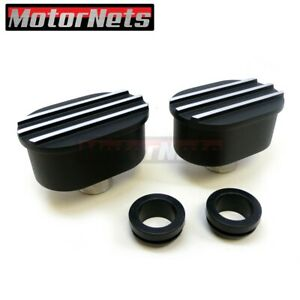 2x Finned Black Oval Aluminum Valve Cover Breathers Chevy Ford Mopar Sbc Bbc 350