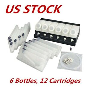 Us Stock roland Mimaki Printer Bulk Ink System 6 Bottles 12 Cartridges