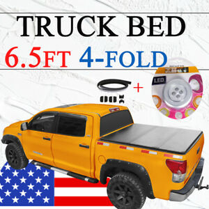 Tonneau Cover 6 5ft 4 Fold For 2003 19 Dodge Ram 1500 2500 3500 Truck Bed Black