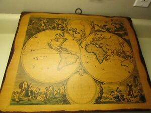 Vintage Old World Map Mounted On Wood 20 X 16