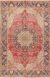 Hand Knotted Wool 7 X 10 Floral Medallion Oriental Area Rug Red Tebriz