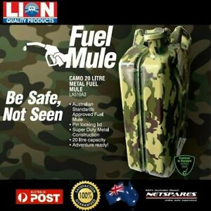 Lion Fuel Mule 20 Litre Camouflage Metal Jerry Can Auto Car Suv 4wd Off road