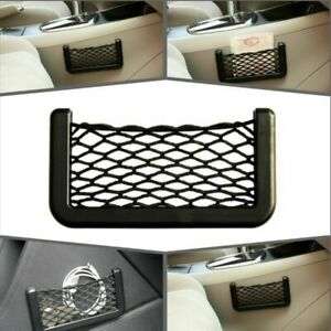 Black Pocket Net Organizer Pouch Auto String Phone Gps Holder Storage Car Bag