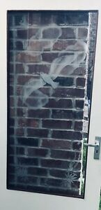 Vintage Seagull Seaside White Etched Glass Door Beach House Beach Brass Handle