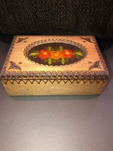 Hand Carved Wooden Box With Embroidered Yarn Inlay
