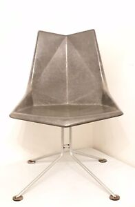 1959 Mcm Fiberglass Origami Chair Faceted Form Paul Mccobb Grey Rare Steel Base