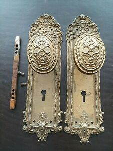 Beautiful Antique Victorian Oval Door Knob Plates With Face Head Rare N 12410