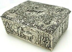 Barbour Silver Co Repousse Cigar Cigarette Box 3949 Silver Plated 1129