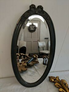 Gorgeous Antique Victorian Grey Blue Painted Wood Gesso Oval Beveled Mirror