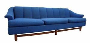 Mid Century Danish Modern 3 Cushion Blue Walnut Sofa