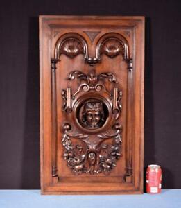 Large French Antique Deep Carved Panel Door Solid Walnut Wood With Woman