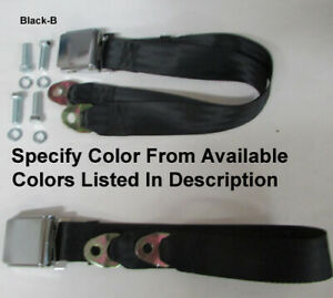 Chevrolet Vintage 2 Point Lap Seat Belts 2 With Mounting Kit 74 Select Color