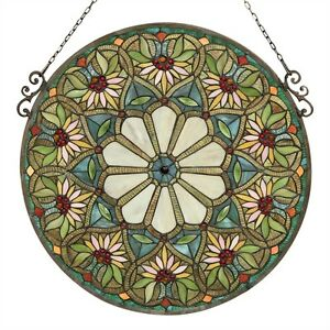 Pair Tiffany Style Stained Glass Summer Floral Design 23 4 Round Window Panel