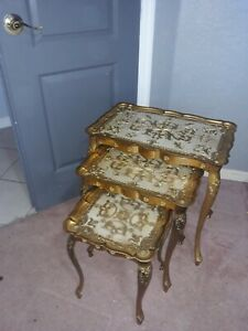 Vtg Set Of 3 Nesting Side Tables Hollywood Regency Italian Florentine Gold Italy