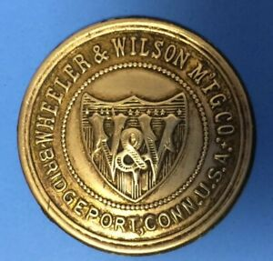 Antique Wheeler Wilson Treadle Sewing Machine Emblem Badge Bridgeport Ct Logo