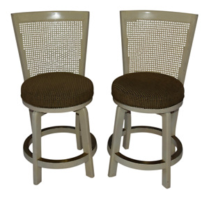 1960s Vintage Hollywood Regency Cane High Back Round Swivel Seat Chairs A Pair