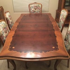 Antique Inlaid Carved Partial Dining Room Set