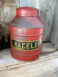 Early Antique Pantry Tin Original Red Paint Nagelen