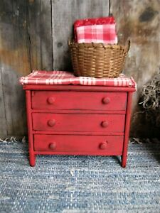 Early Antique Doll S Chest Of Drawers Red Milk Paint